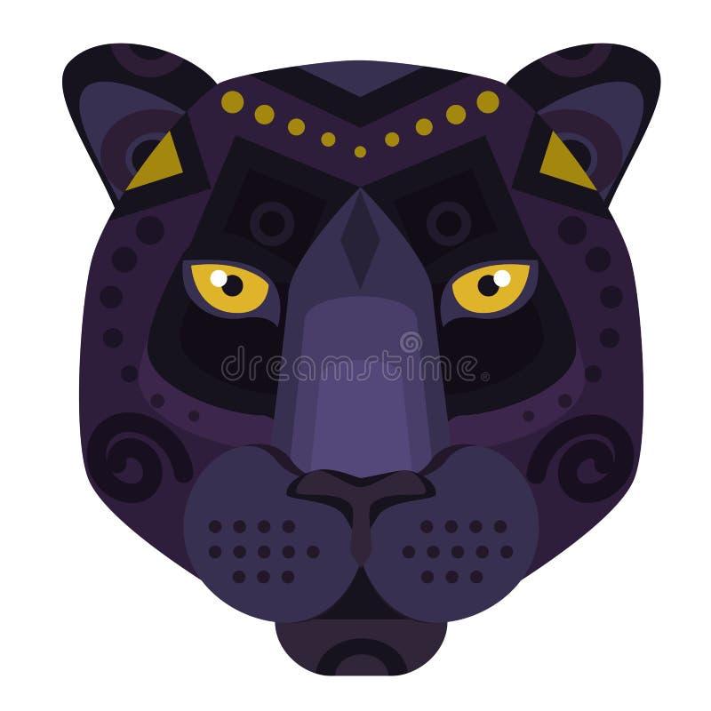 Kopf-Logo Puma des schwarzen Panthers Vektor-dekoratives Emblem vektor abbildung