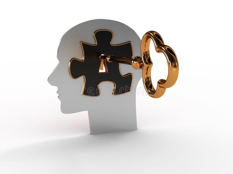 Kopf mit einem Puzzlespiel und einer Taste. Bild 3D lizenzfreie abbildung
