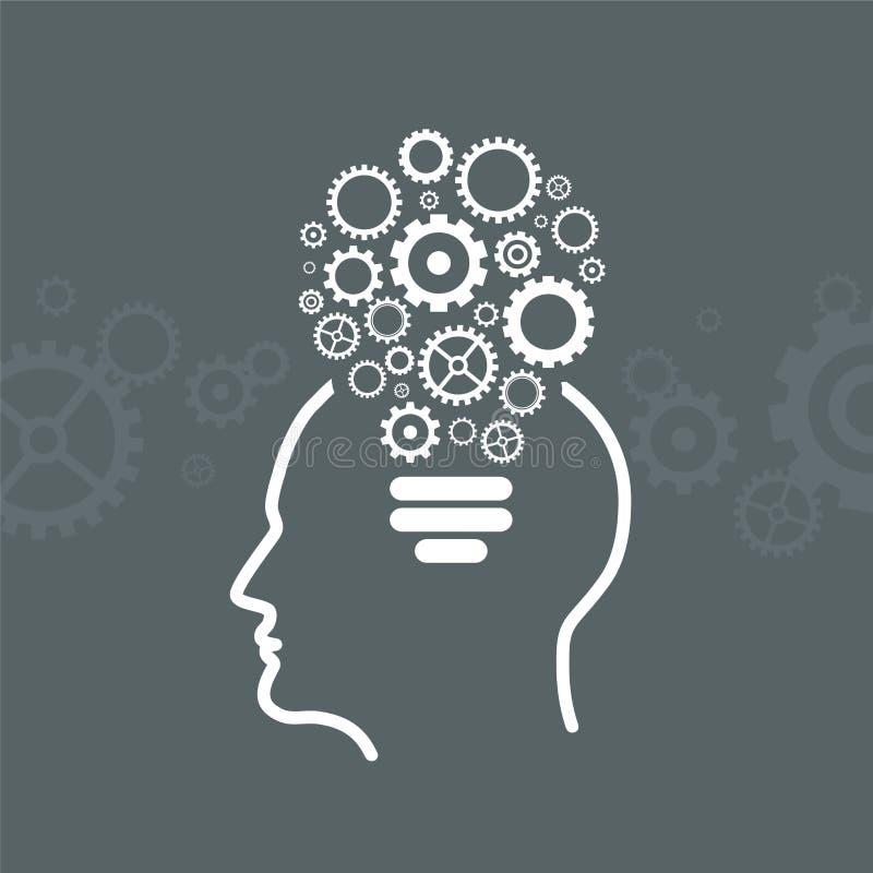 Kopf mit Gang-Ikone von der Form von Glühlampen lizenzfreie abbildung