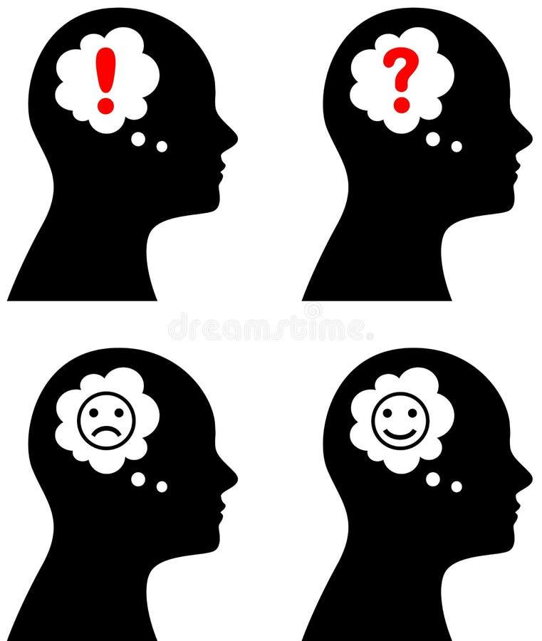 Kopf mit Gedanken oder Spracheblase vektor abbildung