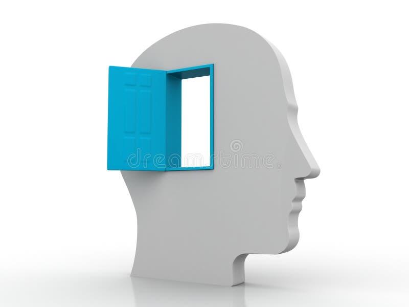 Kopf mit offener blauer Tür lizenzfreie abbildung