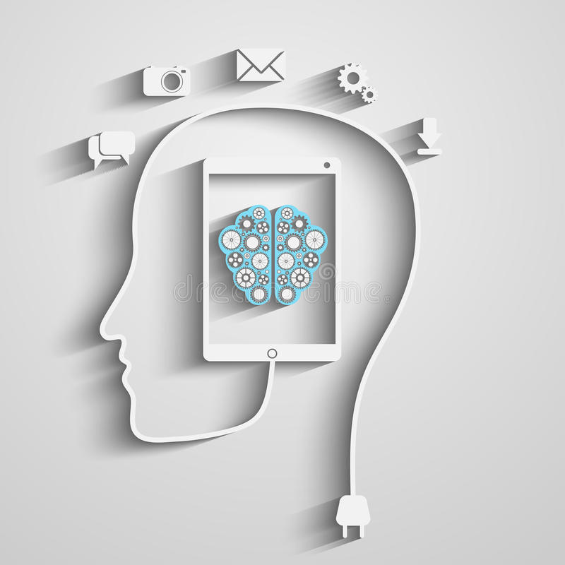 Kopf mit Tablette stock abbildung