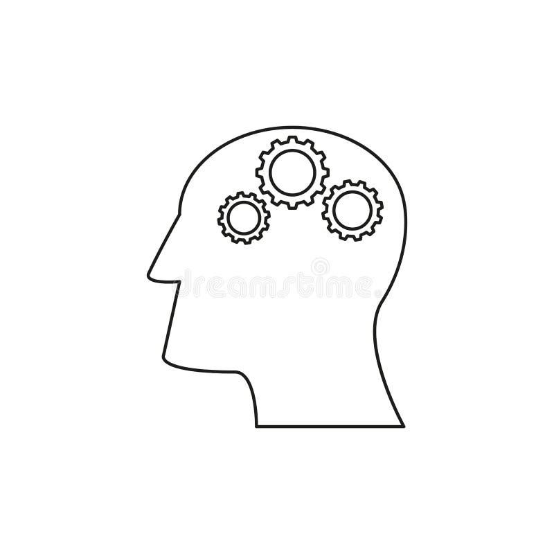 Kopf mit Zahnrädern funktionieren Ikonen aufkommen Idee stock abbildung