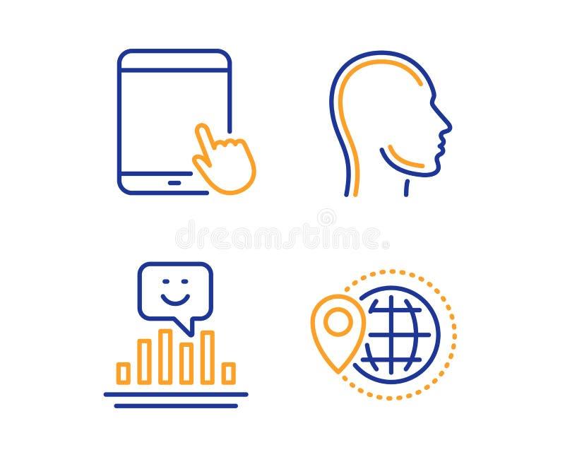Kopf-, Tablet-PC und Lächelnikonensatz Weltreisezeichen Menschliches Profil, Gerät des Bildschirm-, positives Feedback Vektor vektor abbildung