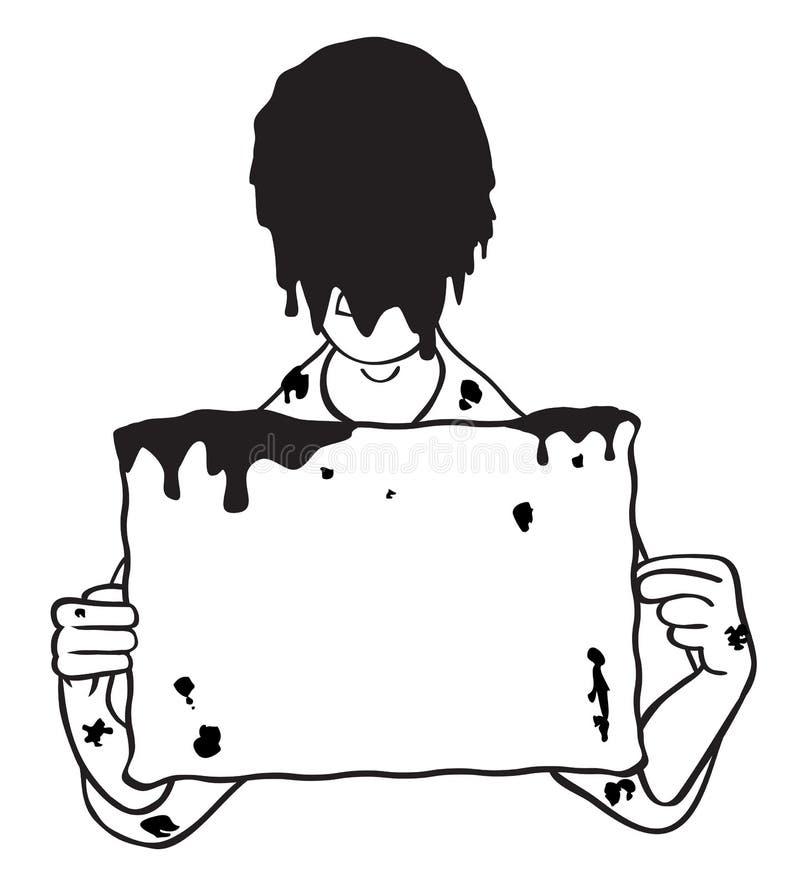 Kopf tauchte im Schlamm mit unbelegter Zeichen-Abbildung ein lizenzfreie abbildung