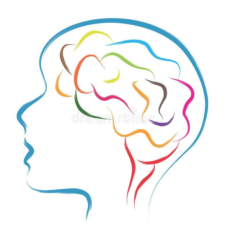 Kopf und Gehirn stock abbildung