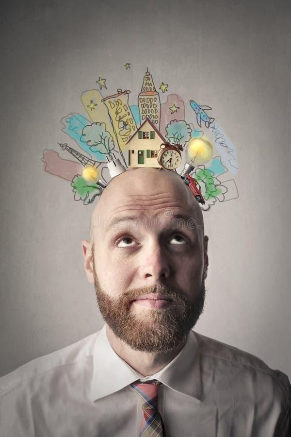 Kopf voll von Ideen lizenzfreie abbildung