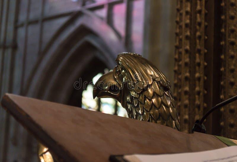 Kopf von Eagle Lectern in Worcester-Kathedrale lizenzfreies stockfoto