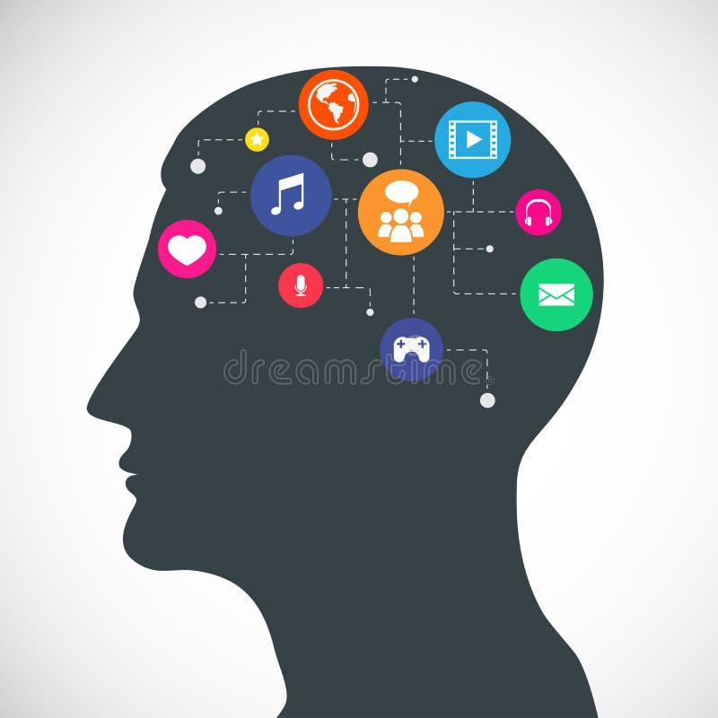 Kopf von Kommunikations-und Medien-flachen Ikonen lizenzfreie abbildung