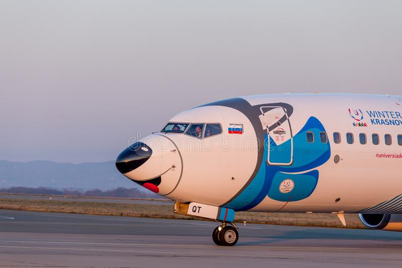 Kopf von Passagierflugzeugflugzeugen Boeing 737-800 von NordStar-Fluglinien auf der Rollbahn Rumpf wird als Hundsibirischer husky stockbild