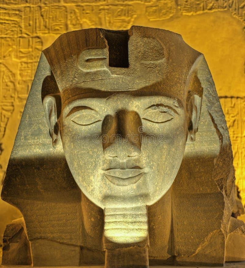 Kopf von Ramses II nachts lizenzfreie stockbilder