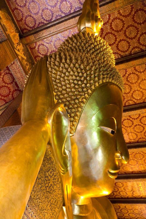 Kopf von stützendem Buddha, Bangkok lizenzfreies stockfoto