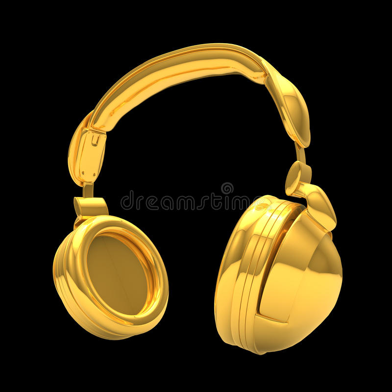 Kopfhörer 3D im Gold stock abbildung