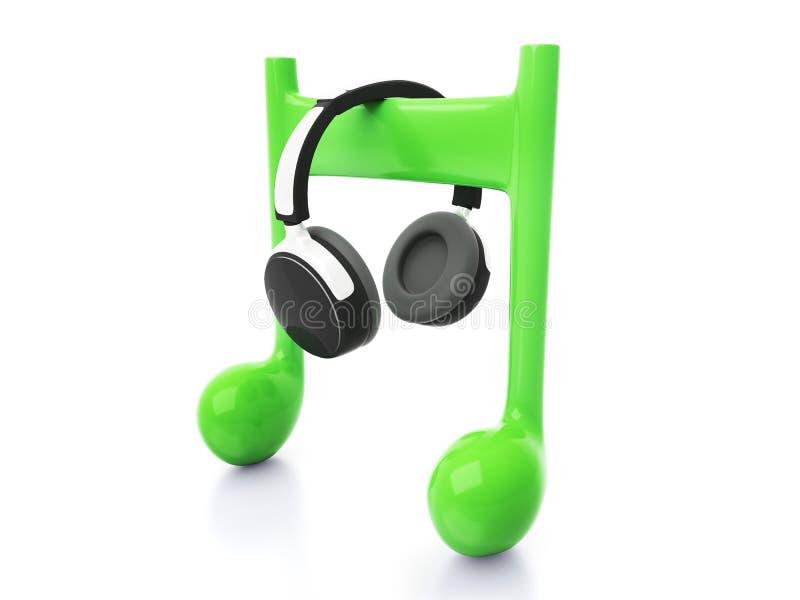 Kopfhörer 3d und Anmerkung lizenzfreie abbildung