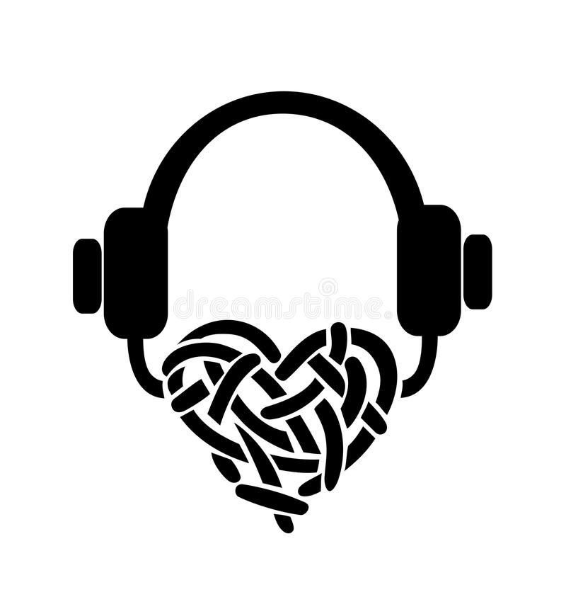 Kopfhörer vektor abbildung. Illustration von weiß, schwarzes - 47222427