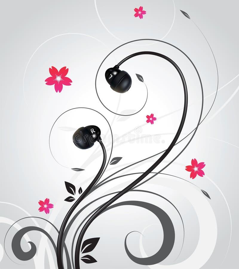 Kopfhörer auf abstraktem gelocktem Hintergrund vektor abbildung