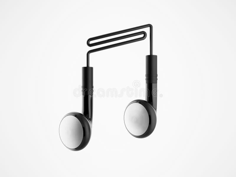 Kopfhörer in Form von Anmerkungen. Musikkonzept. vektor abbildung