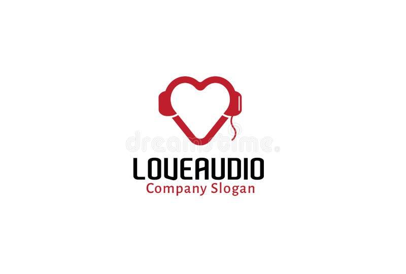 Kopfhörer-Herz-Liebes-Audio Logo Design Illustration lizenzfreie abbildung