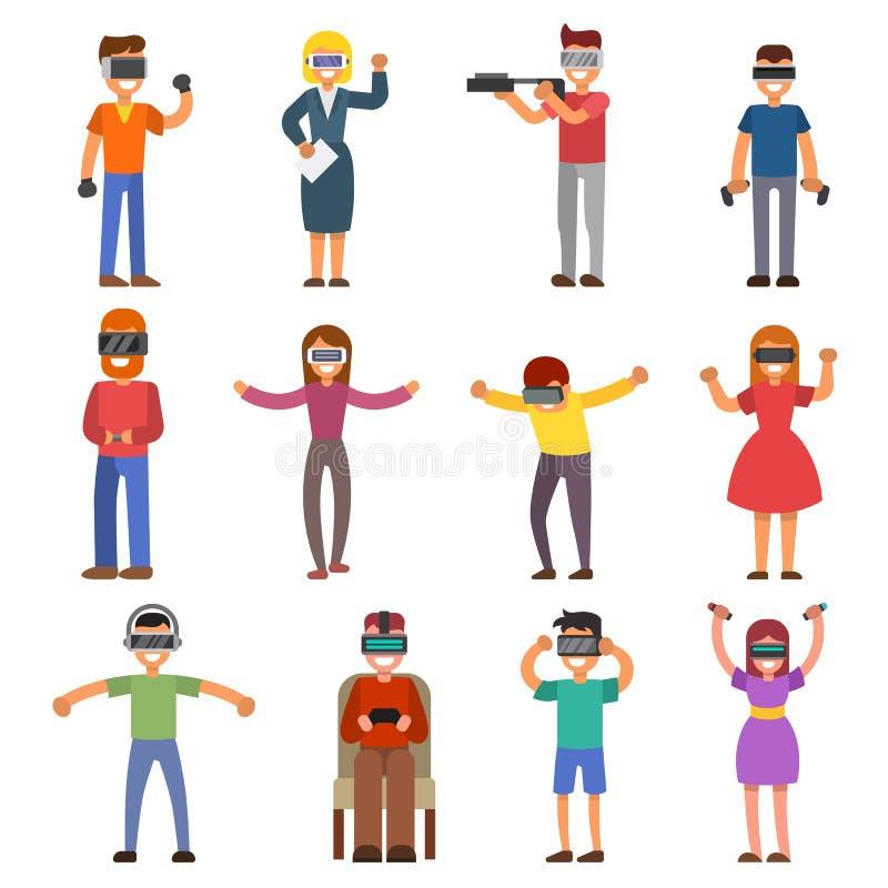 KOPFHÖRER-Leutespielen der virtuellen Realität VR genießen das Glasder gerätcharakter-Simulation der Schutzbrillen 3d futuristisc vektor abbildung