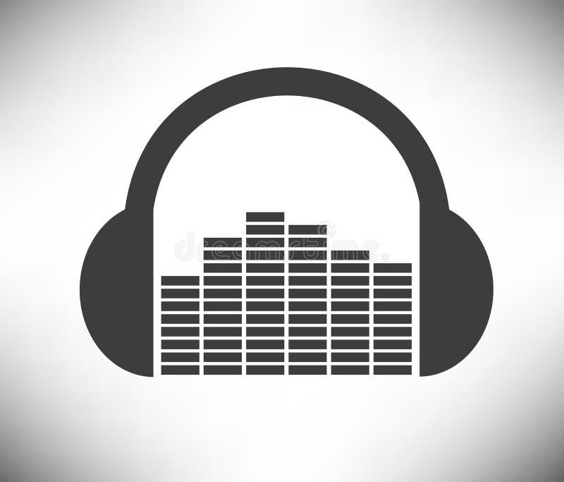 Kopfhörer mit Audioniveau-flacher Design-Ikone stockbild