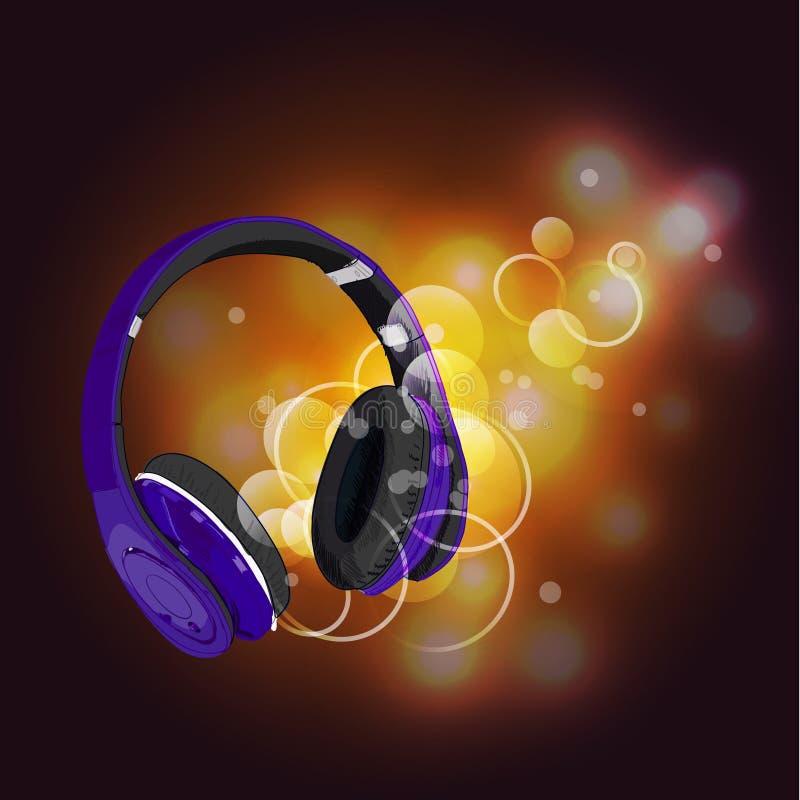 Kopfhörer mit Magie von Musik Purpurrote Kopfhörer und gelbe abstrakte Lichter vektor abbildung