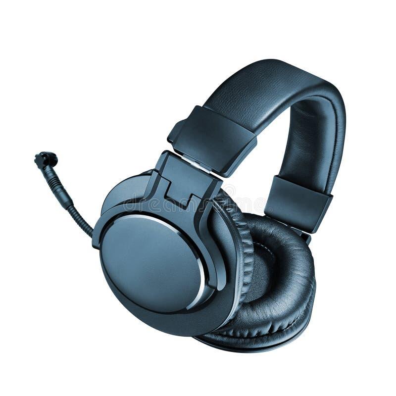 Kopfhörer mit Mic lokalisiert auf Weiß lizenzfreie stockfotos