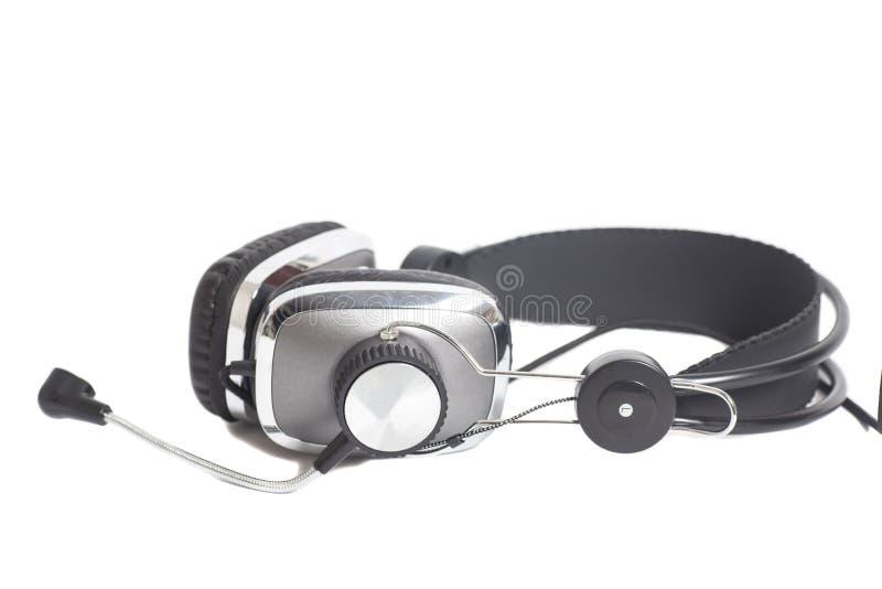 Kopfhörer mit Mic lokalisiert auf Weiß lizenzfreies stockbild