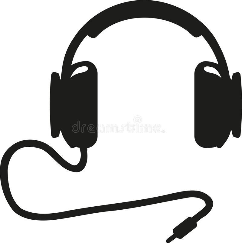 Kopfhörer mit Zackenstecker stock abbildung