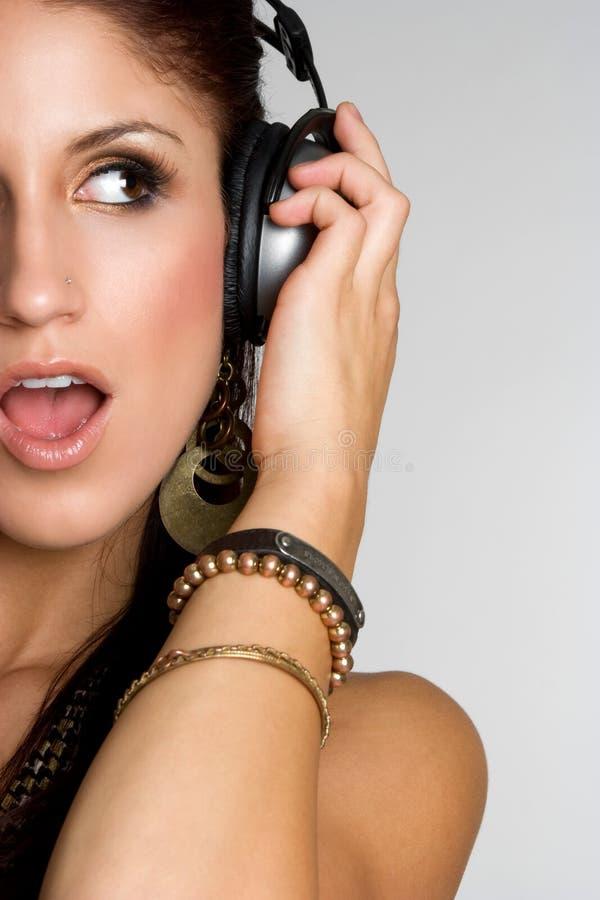 Kopfhörer-Musik-Mädchen stockbild