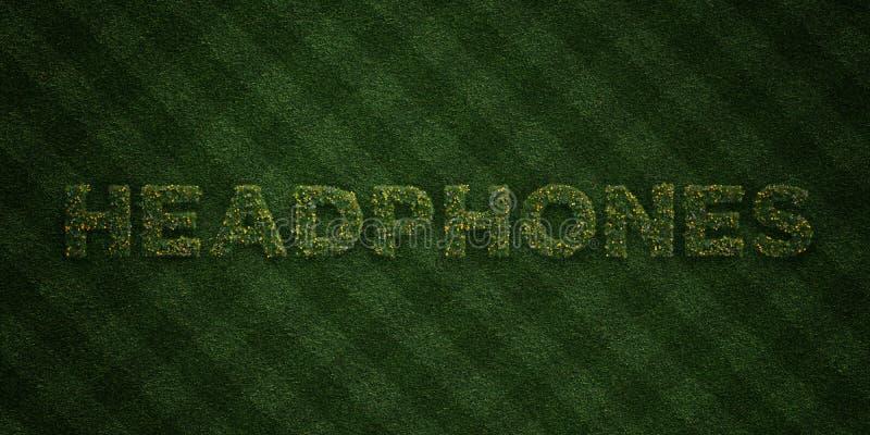 KOPFHÖRER - neue Grasbuchstaben mit Blumen und Löwenzahn - 3D übertrugen freies Archivbild der Abgabe lizenzfreie abbildung