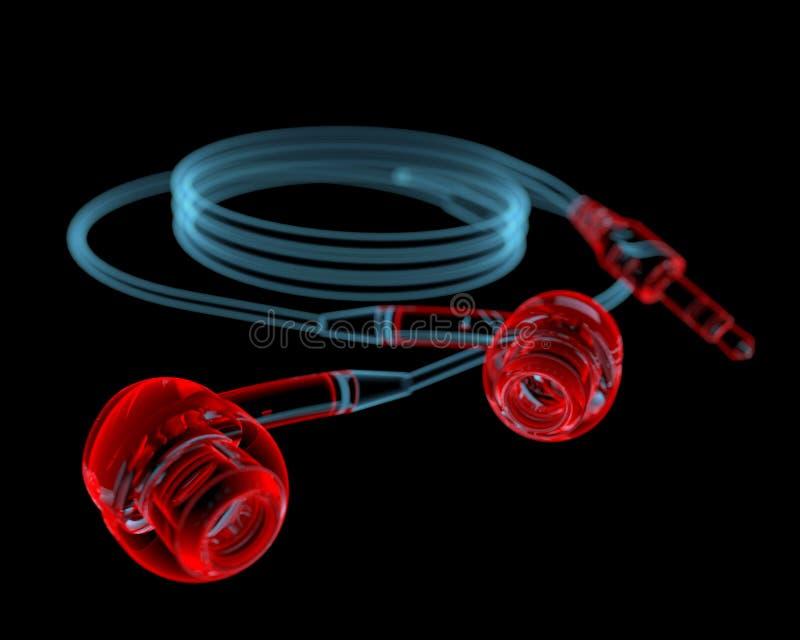 Kopfhörer (Röntgenstrahl 3D rote und blaue transparente) stockfotos