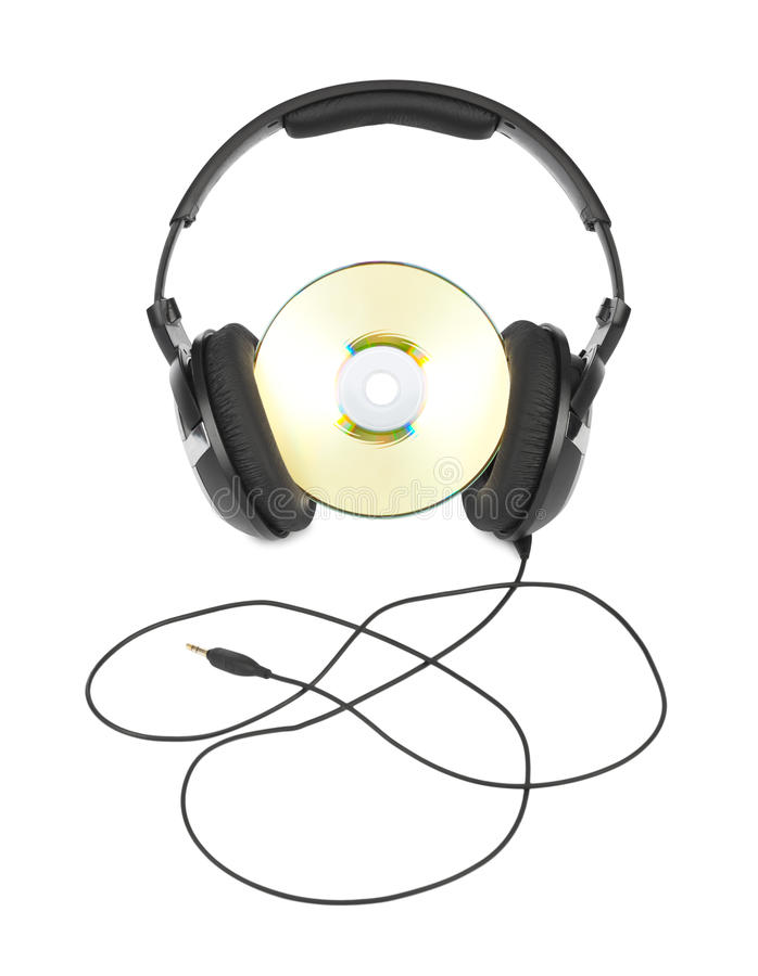 Kopfhörer und Cd lizenzfreies stockfoto