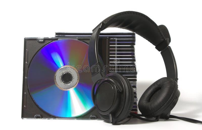 Kopfhörer und cd Ansammlung lizenzfreie stockfotos
