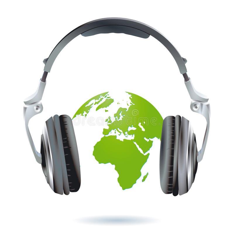 Kopfhörer weltweit lizenzfreie abbildung