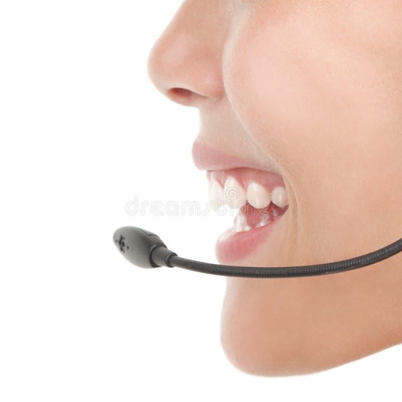 Kopfhörerfrauennahaufnahme stockbilder
