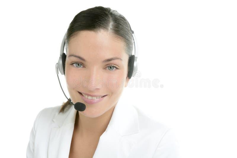 KopfhörerGeschäftsfraukleid im Weiß lizenzfreies stockfoto