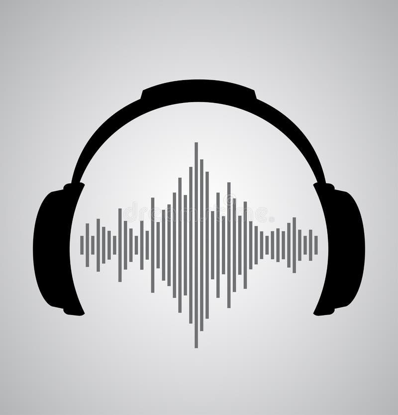 Kopfhörerikone mit Schallwelleschlägen stock abbildung