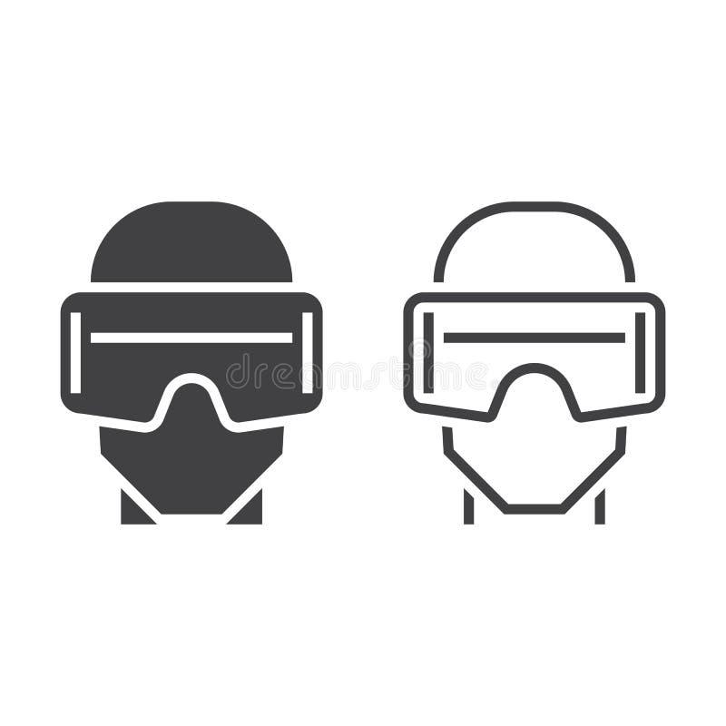 Kopfhörerlinie Der Virtuellen Realität Ikone, Entwurf Und Körper ...