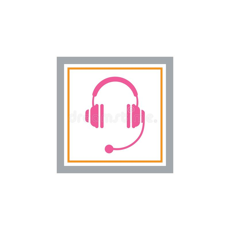 Kopfhörervektorikone, Call-Center-Ikone Vektor-Illustrationsentwurf lizenzfreie abbildung