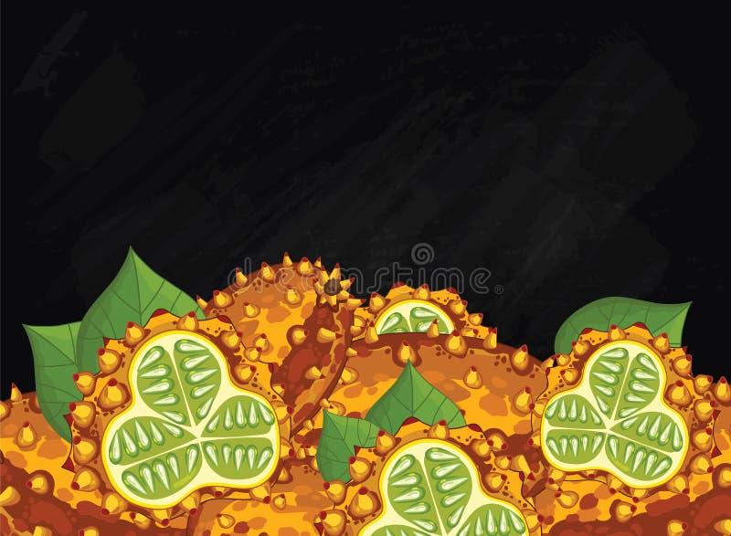 Kopfnickenfruchtzusammensetzung auf Tafel, Vektor stock abbildung