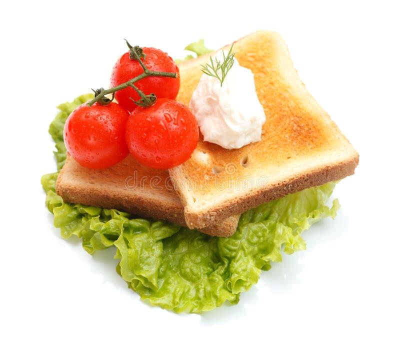Kopfsalat mit Toast stockbild