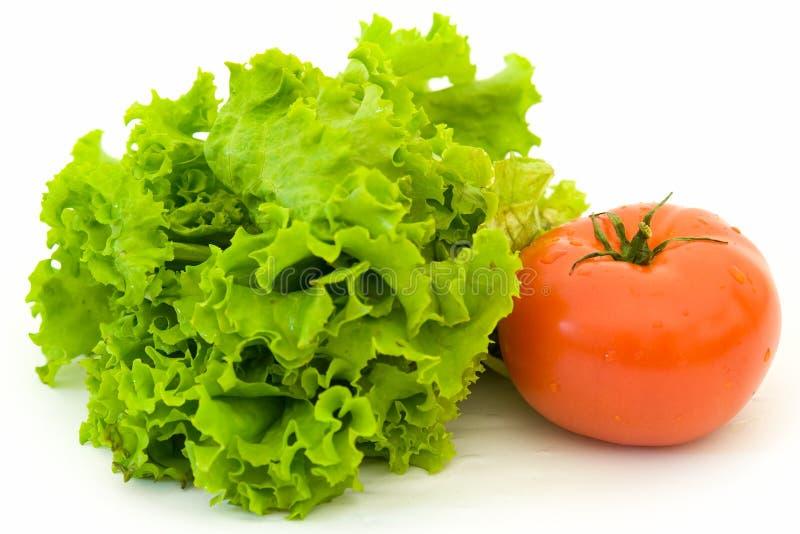 Kopfsalat und rote Tomate lizenzfreie stockbilder