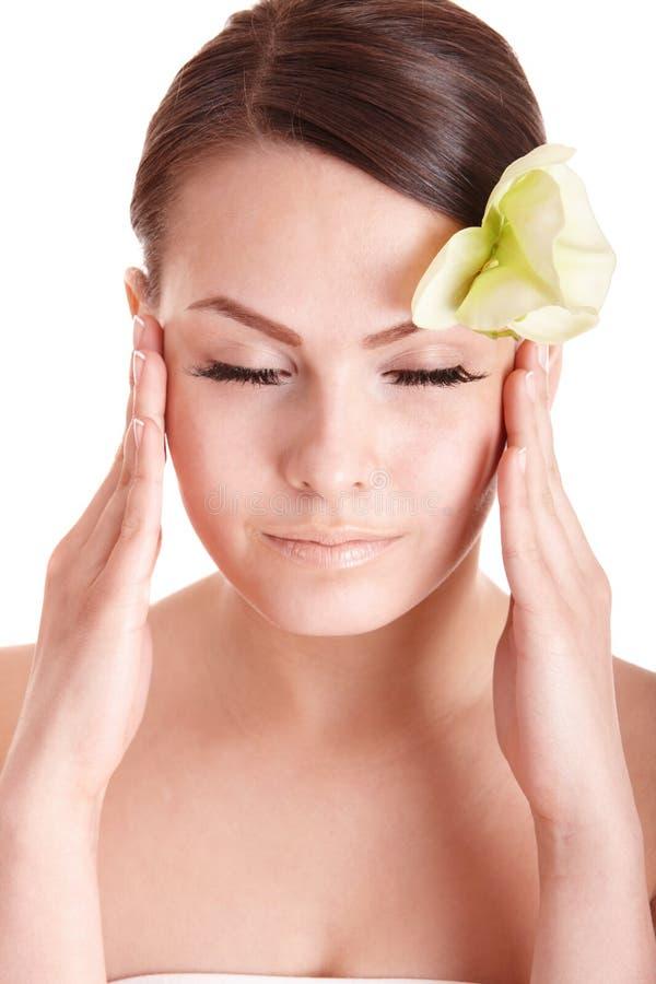 Kopfschmerzen der schönen jungen Frau. lizenzfreies stockbild