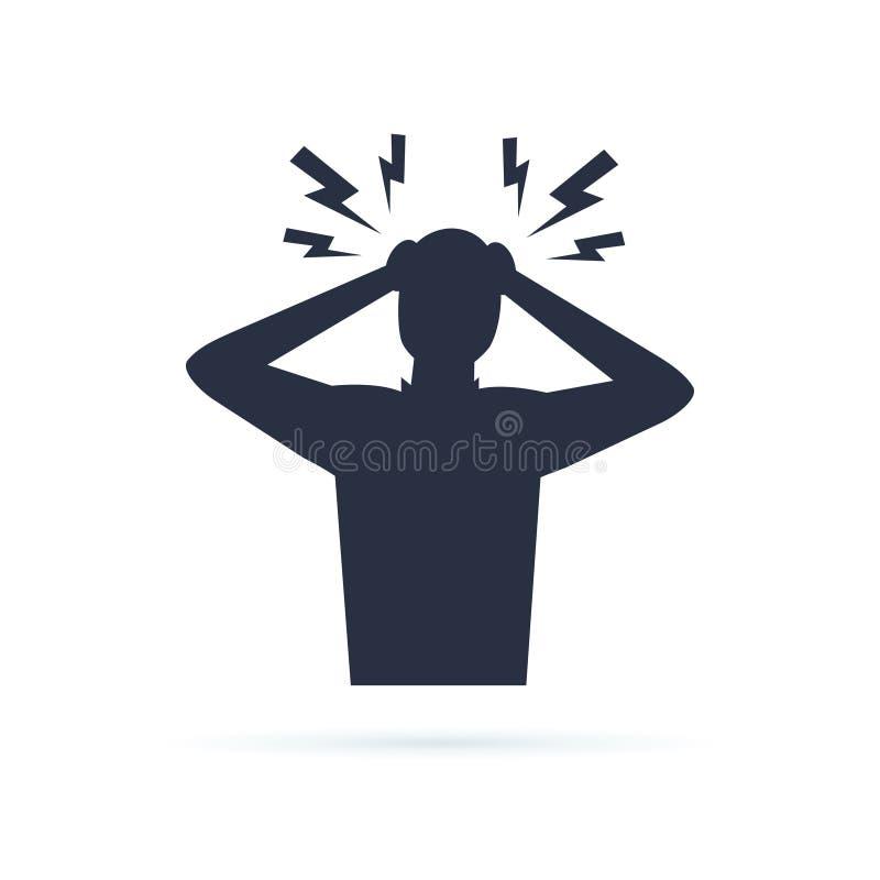 Kopfschmerzen Glyphikone Schattenbildsymbol Ärger und Irritation Franc vektor abbildung