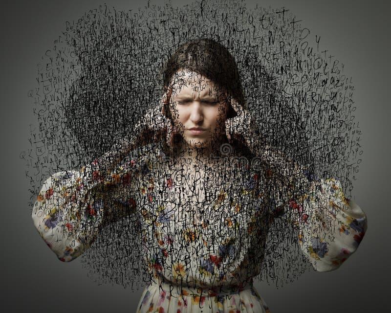 Kopfschmerzen. Obsession. Dunkle Gedanken. lizenzfreie stockfotos