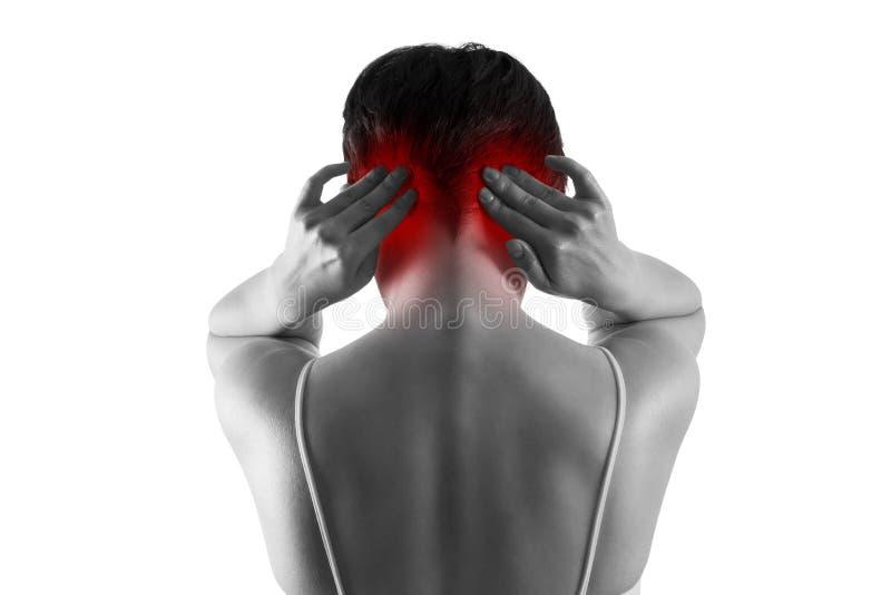 Kopfschmerzen und Migräne, Frau mit den Hauptschmerz lokalisiert auf weißem Hintergrund lizenzfreie stockfotografie