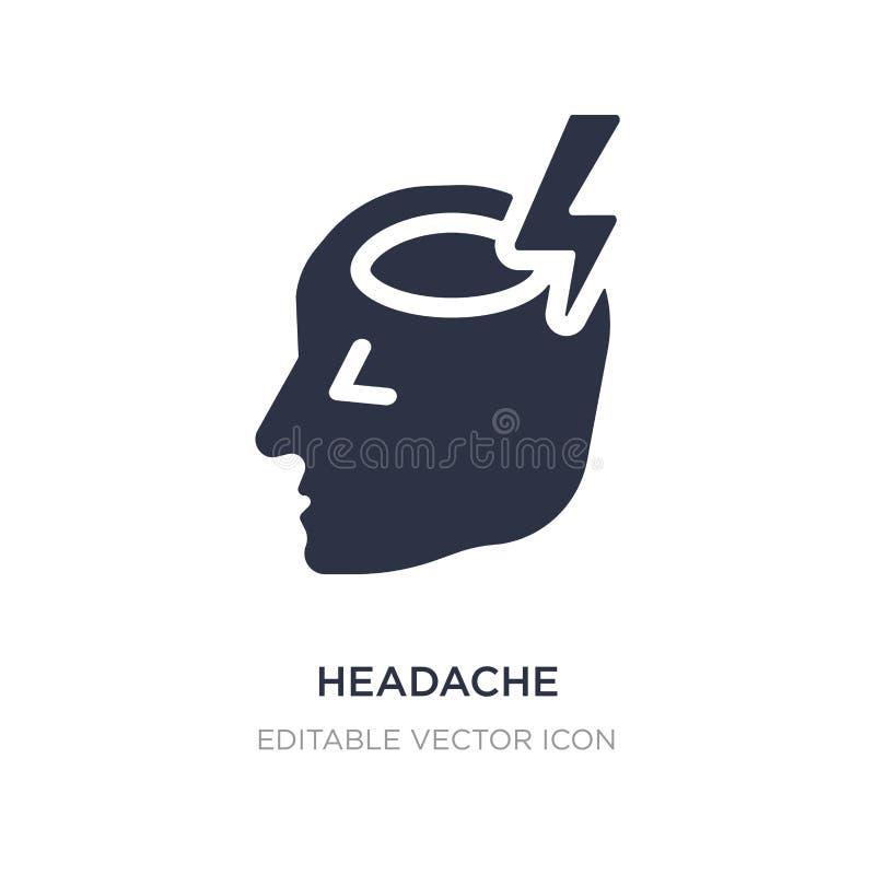 Kopfschmerzenikone auf weißem Hintergrund Einfache Elementillustration vom smileykonzept lizenzfreie abbildung