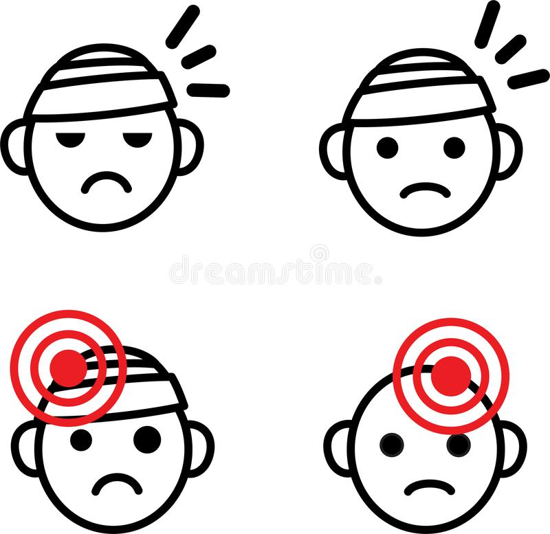 Kopfschmerzenikonensatz Medizinischer Vektor emoji Satz traurige verbundene Köpfe mit Gesundheitsproblem, Hauptschmerz, Migräne,  vektor abbildung