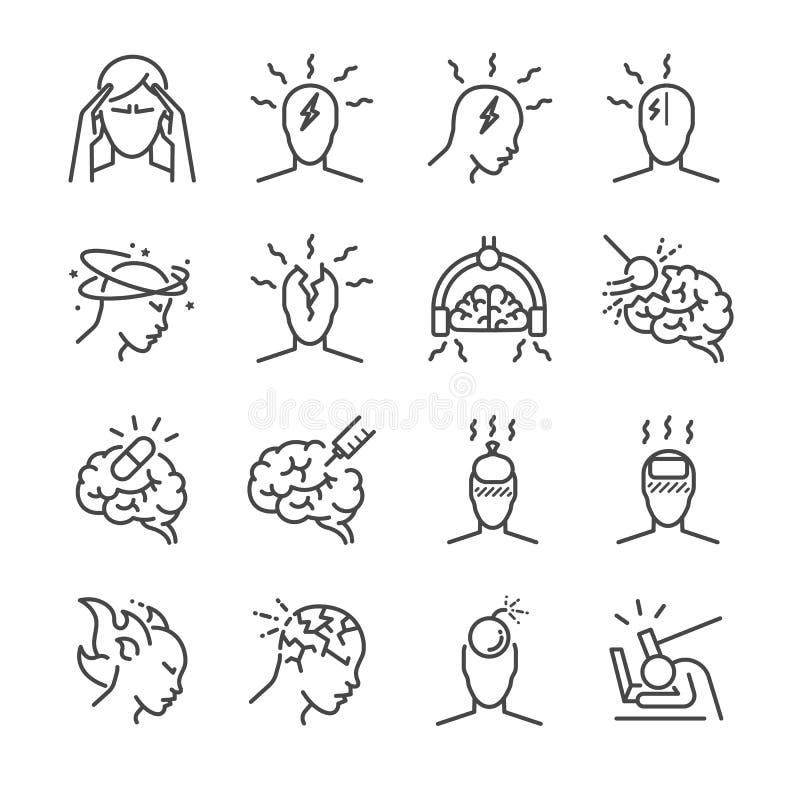 Kopfschmerzenlinie Ikonensatz Schloss die Ikonen als Spannungskopfschmerzen, Cluster-Kopfschmerzen, Migräne, Gehirnsymptom und me vektor abbildung