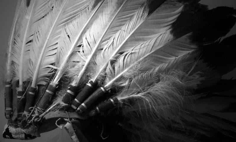 Kopfschmuck des amerikanischen Ureinwohners im Monochrom lizenzfreie stockbilder